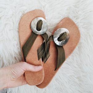Shoes - Natural beach shell flip flops sandals size 9
